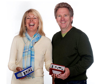 Joann and Eric Byres holding the innovative Tofino Security Appliances