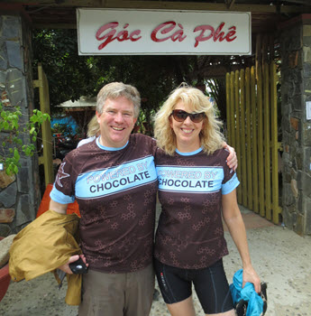 Powered by Chocolate – the fuel of choice for the Byres while cycling in Vietnam